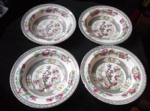 4 x VINTAGE AYNSLEY A1173 INDIAN TREE DESIGN RIMMED SOUP / CEREAL BOWLS